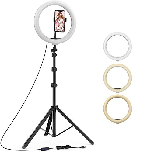 GTK Store Combo Rechargeable Selfie Ring LED Light Ring 3 Colour Changing with Tripod Stand for TIK Tok, vigo Video Shooting, Photoshoot (Round- 12 Inch)