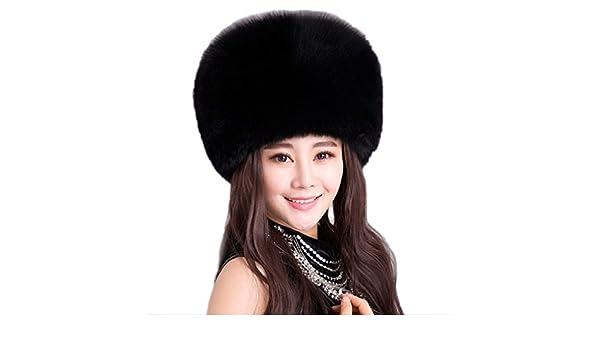 85e9e942ec9 JJ-GOGO Women Winter Faux Fox Fur Cossack Hat Black White Headband (Black)  at Amazon Women s Clothing store