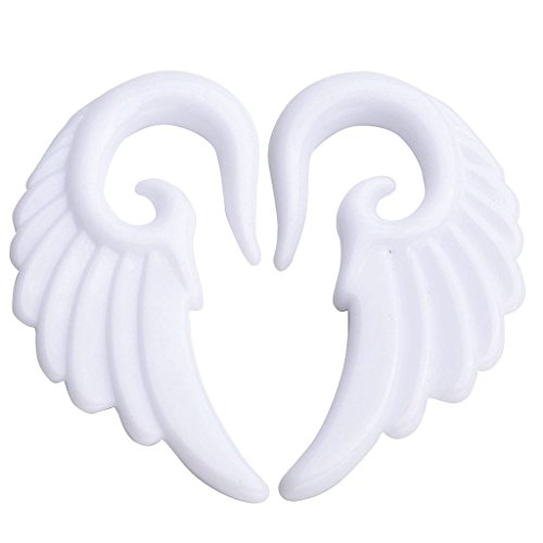 JOVIVI Pair Punk White Acrylic Angel Wing Spiral Taper Ear Plugs Gauges 2g