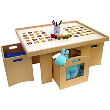 Amazon Com A Childsupply Toddler Play Table With Storage