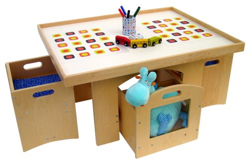 Amazon.com: A+Childsupply Toddler Play Table With Storage And 2 Chairs:  Toys U0026 Games