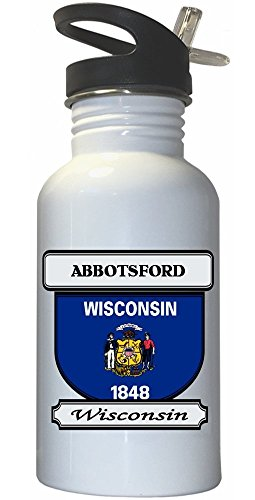 Abbotsford, Wisconsin (WI) City White Stainless Steel Water Bottle Straw Top