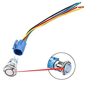 """Qiorange DC 12V 19mm 3/4"""" Blue Ring Led Metal Momentary Push Button Switch Car DIY Switch Silver with Wired Connector Adapter"""
