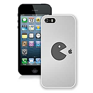 pacman food apple White Hard Shell iPhone 5 5S Phone Case