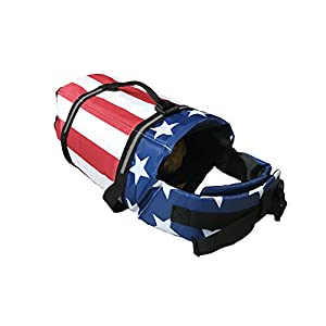 KING Pup Dog Life Jacket, American Flag Life Vest for Puppies and Dogs. Safe and Secure with Extra Padding and American Flag Design (Extra Small, Blue)