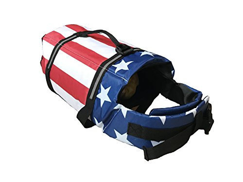 KING Pup Dog Life Jacket, American Flag Life Vest for Puppies and Dogs. Safe and Secure with Extra Padding and American Flag Design (Extra Large, Blue)