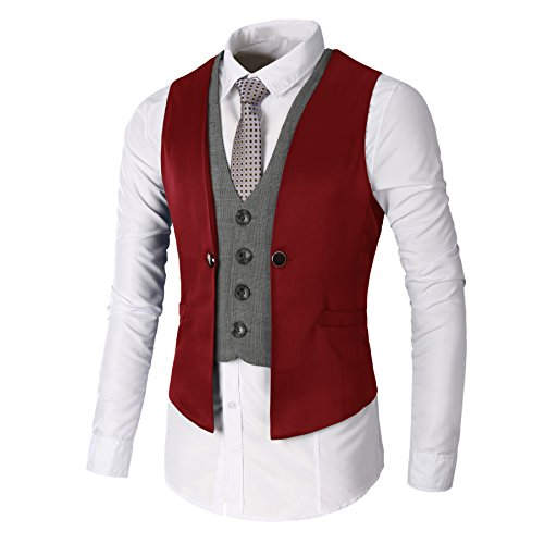 DAVID.ANN Men's Business Suit Vest,Wine Red,Large (Steampunk Clothing Men)