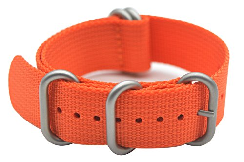 - ArtStyle Watch Band with 1.5mm Thickness Quality Nylon Strap and Heavy Duty Brushed Buckle (Orange, 18mm)