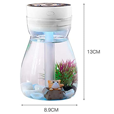 Cikuso Cute Cool Mist Humidifier Office Bedroom Air Purifier Usb Charging Kawaii Air Humidifier With Led Light Air Moisturizing Bottle Blue