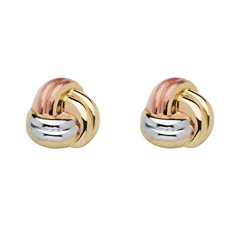Tri-Tone 10k Gold Love Knot Earrings