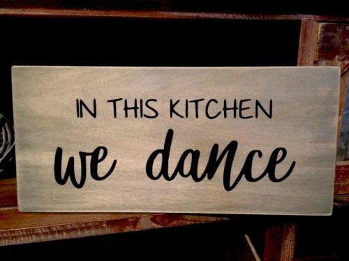 123RoyWarner Rustic Wood Sign in This Kitchen We Dance Farmhouse Home Decor Kitchen Sign