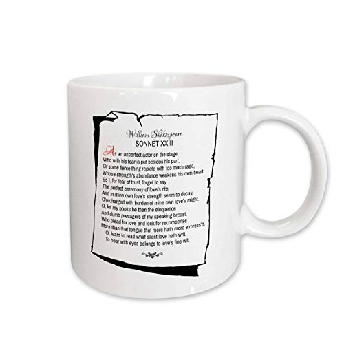 3dRose Alexis Design - Poetry Shakespeare Sonnets - Sonnet 23. As an unperfect actor on the stage - 15oz Mug (mug_305668_2)