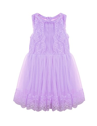 Hotouch American Princess Lace Mesh Birthday Dress for Girls (Purple,4-5Y)