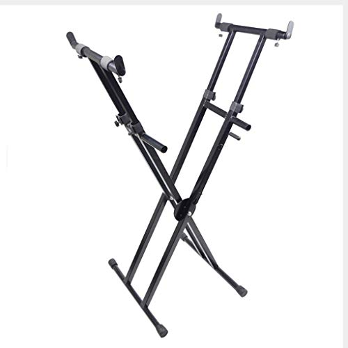 Synthesizers & Workstations Keyboard Stand Piano Stand Keyboard Stand and Bench Set Iron Zither Frame X-Type Stand-up Shelf Outdoor Entertainment (Color : Black, Size : High 100cm)