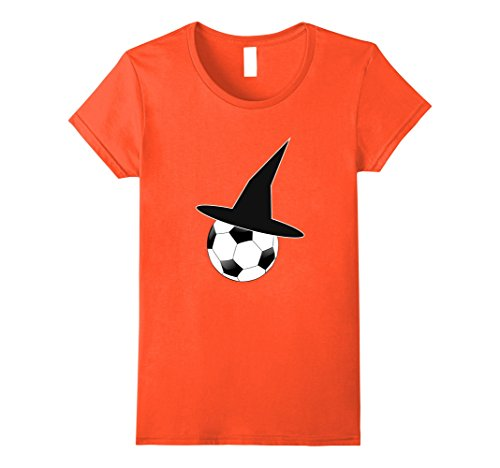Soccer Ball Costume (Womens Funny Halloween Soccer Ball Witch Hat T-Shirt Large Orange)