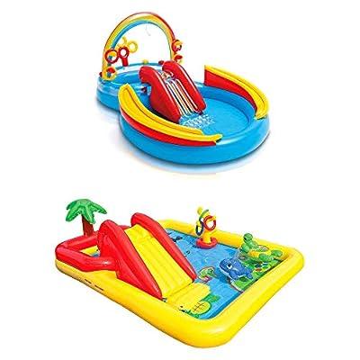 Intex Inflatable Pool Water Play Rainbow Ring Center Slide Games Kids | 57453EPIntex Inflatable Ocean Play Center Kids Backyard Kiddie Pool w/Games | 57454EP