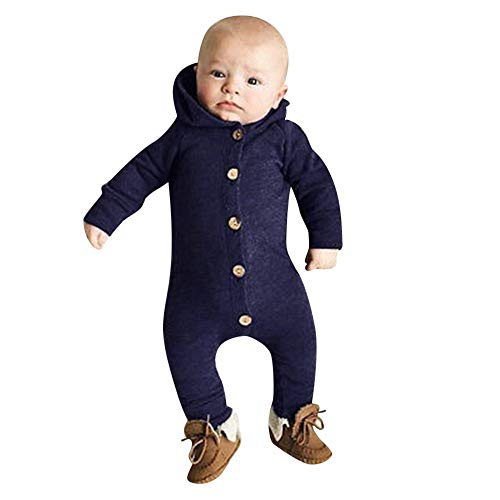 FEITONG Infant Baby Girls Boys Long Sleeve Solid Hooded Jumpsuit Romper Outfits Crawling Suit(0-3M,Blue) -