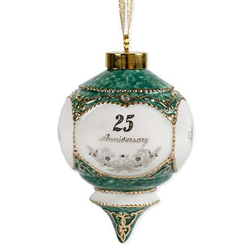 Happy 25th Wedding Anniversary Jewel Victorian 4.5 Inch Ball Hanging Ornament