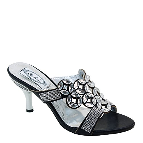 New Brieten Womens Rhinestone Flower Kitten Heel Mules Slide Sandals Black l7n8nDxIg