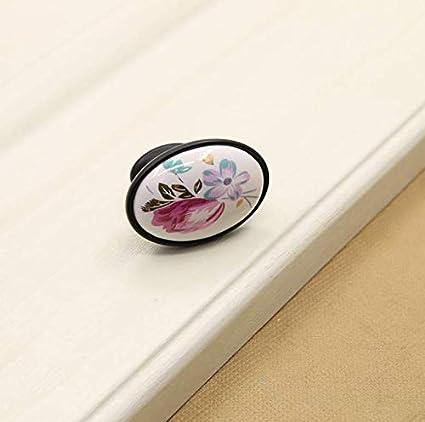 Poign/ée de porte c/éramique Noire - tulipe boutons de meubles Ebeta 10 x Poign/ées et boutons de tiroir boutons de tiroir
