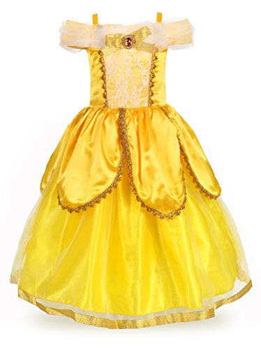 JerrisApparel Princess Belle Costume Deluxe Party Fancy Dress Up For Girls (5 Years, Yellow (Make A Belle Costume)