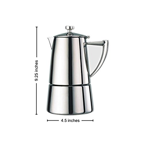 Cuisinox Roma 10-Cup Moka Espresso Stovetop Coffeemaker in Stainless Steel