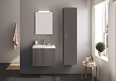 Amazon De Allibert Badmobel Badmobel Set Badezimmermobel Waschtisch Eiche Grau 95 Cm