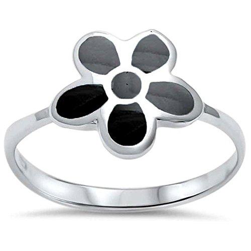 Oxford Diamond Co Sterling Silver Black Onyx Flower Ring Sizes 6