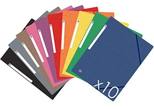 Oxford Carpeta con gomas - Tapas de cartón con gomas y 3 solapas, A4, pack de 10 unidades, colores vivos