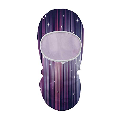 YOLIYANA Eggplant Durable Face Gini,Abstract Colourful Beams Backdrop with White Stars Space Inspired Purple Lines for Outdoor,8.6