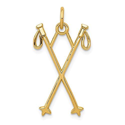 14K Yellow Gold Ski Poles Charm