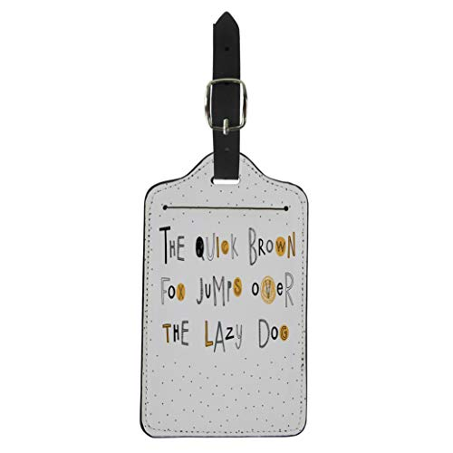 Semtomn Luggage Tag the Quick Brown Fox Jumps Over Lazy Dog Doodle Suitcase Baggage Label Travel Tag Labels