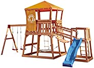 Little Tikes Real Wood Adventures Grizzly Grotto Exclusive Wooden Swing Set and Outdoor Playhouse Backyard Pla