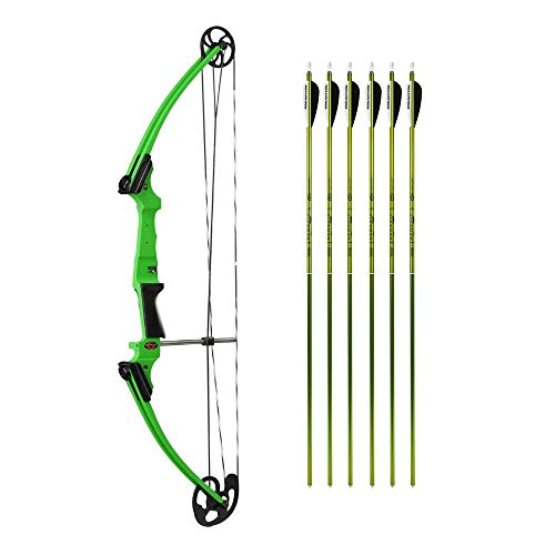 Genesis Bows Original Youth Bow with Six Arrows Bundle (Choose Your Color), NASP Official Compound Bow of The National Archery in The Schools Program | Great for Beginners