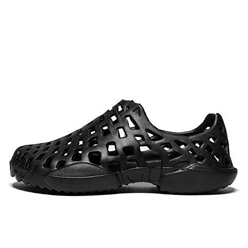 VonVonCo Men Shoes Unisex Hollow Out Casual Couple Beach Sandal Flip Flops Shoes Black by VonVonCo (Image #5)