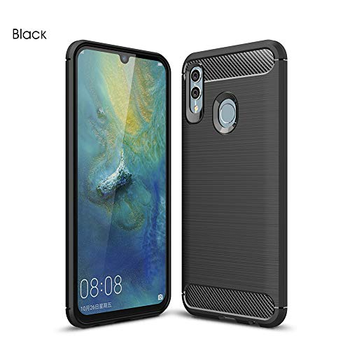 【YEZHU】 Huawei P Smart 2019 / Huawei nova lite 3 ケース 炭素繊維カバー TPU シリコン ケース 保護バンパー 弾力性付き Huawei P Smart 2019 / Huawei nova lite 3専用 耐衝撃 スマートフォン対応 (ブラック)
