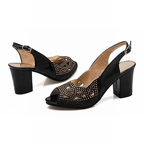 Carolbar Mujeres Hebilla Rhinestones Lentejuelas Peep Toe Slingback Nupcial Chunky Mid Heel Dress Sandalias Negro