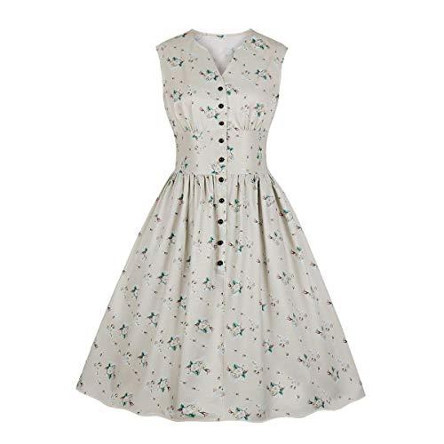 Wellwits Women's Floral Print Button Down 1940s Retro Vintage Dress Apricot 4XL