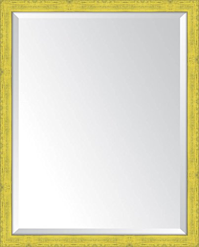 Melissa Van Hise MIR2232228 Yellow Mirror Wall Decor - Handcrafted in the United States Frame material: Wood Dimensions: 31x25 - bathroom-mirrors, bathroom-accessories, bathroom - 41lCVSFnXXL -