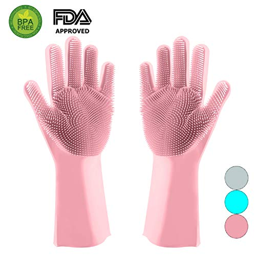 (Magic Silicone Dishwashing Gloves Scrubber-Silicon Rubber Brush Cleaning Gloves with Wash Scrubber for Kitchen,Household, Washing Car, Pet Hair Care (Pink))