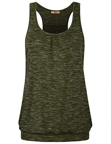 Miusey Layering Tank Tops for Women,Ladies Crew Neck Plus Size Maternity Casual Summer Sleeveless Baggy Vintage T Shirt Classic Knitting Top Solid Basic Daily Wear Army Green ()