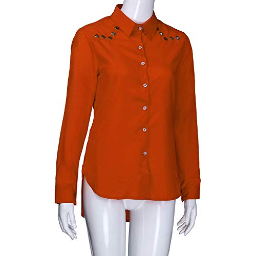 Pure Blouse Longues Neck V Manches Femmes Lache Size Plus Bouton Tefamore Couleur Orange Tops ptfnHw