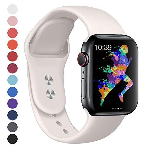 EXCHAR Compatible for Apple Watch Band 44mm, 42mm, for Apple Watch Series 4, 3, 2, 1, iWatch, Sport T, Edition with Soft Safety Silicone and Lightweight Design- S/M Soft White
