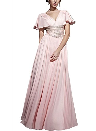 Mantel Rosa V mit Perlen BRIDE Spalte Rosa Applikationen GEORGE bodenlangen Abendkleid Chiffon Ausschnitt wEaqx