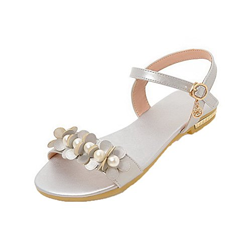PU Toe Sandals Solid AalarDom huazhu Buckle Silver Low Open Womens Heels YnwSO8XES