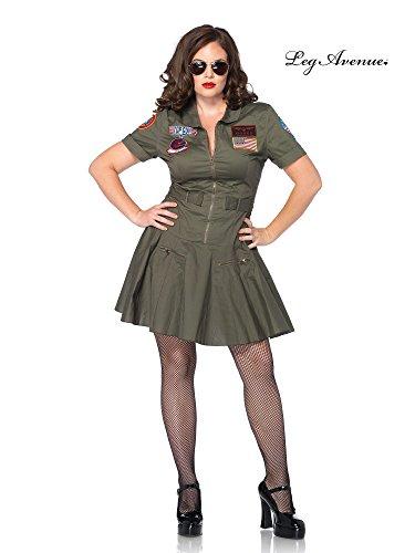 Leg Avenue Women's Plus-Size Licensed Top Gun Flight Dress, Green, 1X/2X (Ladies Top Gun Costume)