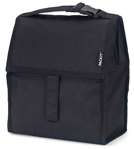 Bag Ice Cooler (PackIt Freezable Lunch Bag with Zip Closure, Black)