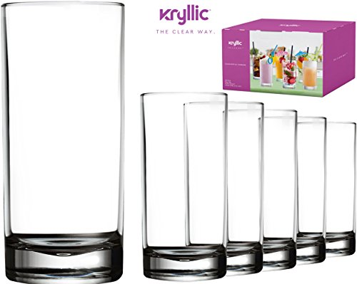 Plastic Tumbler Cups Drinking Glasses - Acrylic Highball Tumblers Set of 6 Clear 16 oz Unbreakable Reusable Kitchen Drinkware Dishwasher Safe Bpa Free Hard Rocks Glass Drink Cup for Wine (Water Glasses In Bulk)