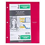 Customizable Plastic Folder 2 Pocket,3 Holes - Five Star/NO PRONGS/Size (Overall): 9.5 '' X 11.75 '',Sheet Capacity: 120 (RED)
