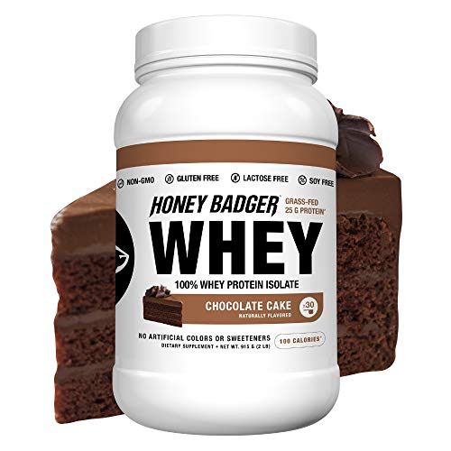 Honey Badger - Natural Keto 100% Whey Protein Isolate - Hydrolyzed, BCAA, Amino Acids, Digestive Enzymes, Grass-Fed Protein Supplement - Paleo, Sucralose Free, Gluten Free - Chocolate Cake, 2 Lbs